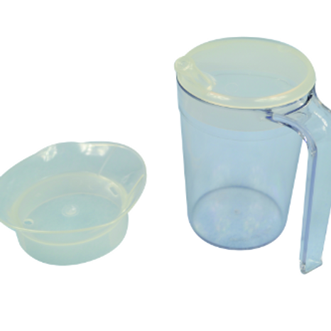 Clear Drinking Cup with handle & 2 lids 280ml
