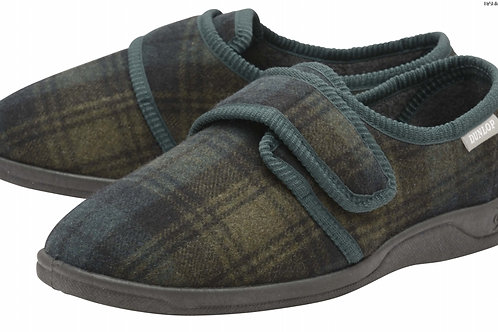 Mens Slipper - Merrick - Dark Green Check size 7