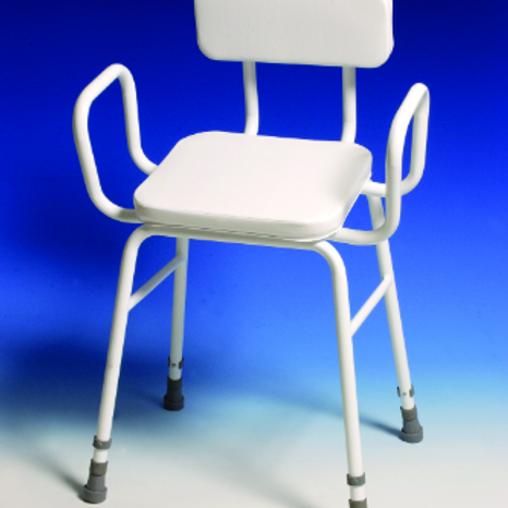 Perching Stool - adj height with padded back and arms VAT EXEMPT