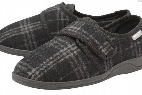 Mens Slipper - Merrick - Grey Check size 8