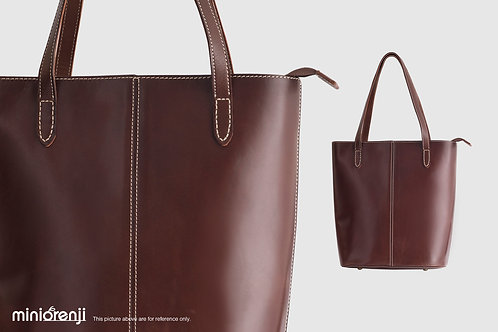Vegetable Tanned Genuine Leather Dip-dyeing Shoulder Handbags HGB1011