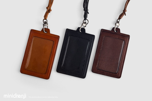 leather id badge window pocket card holder - Id Card Holder
