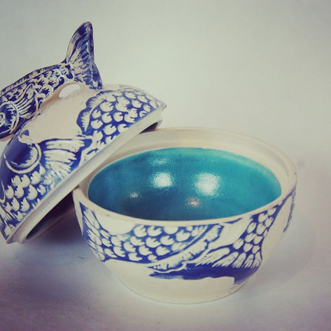 Earthenware Fish jewel box