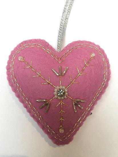 Christmas felt heart, pink