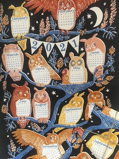 Owl calendar tea towel, 2021, Pigeon Loft