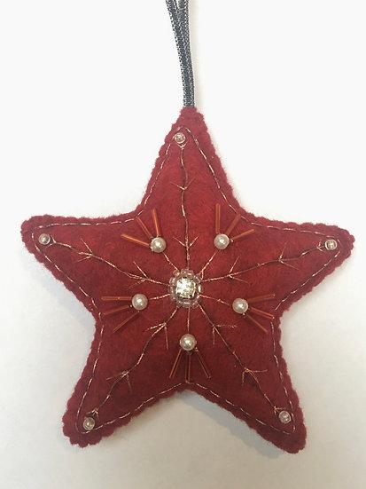 Christmas felt star, red