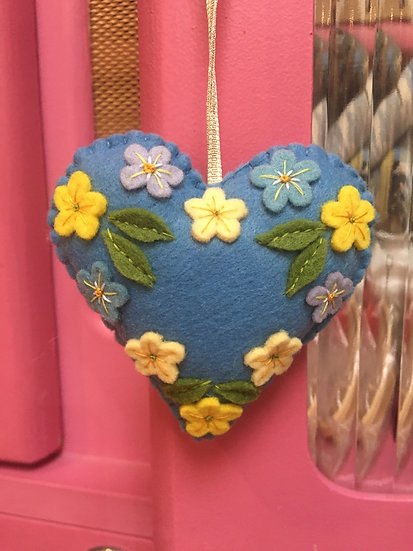 Christmas felt heart with flowers , blue