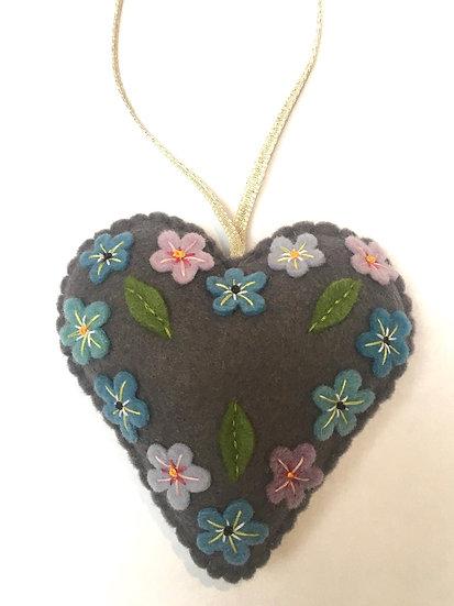 Christmas heart with flowers, grey felt