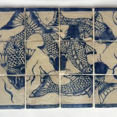 Fish swimming, tile panel