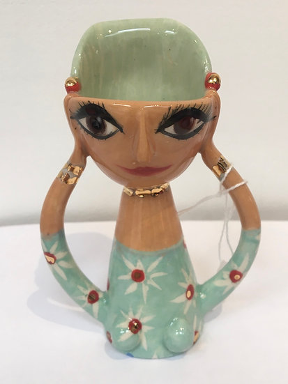 Madeline Herbert - Egg cup with mint green hair and dress, with gold