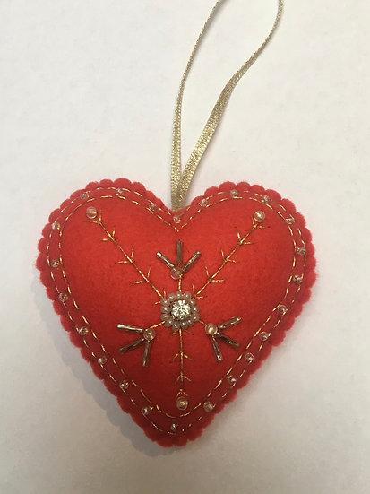 Christmas felt heart, bright red