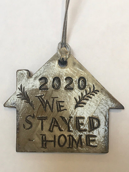 Ceramic Christmas decoration, 'We stayed Home'