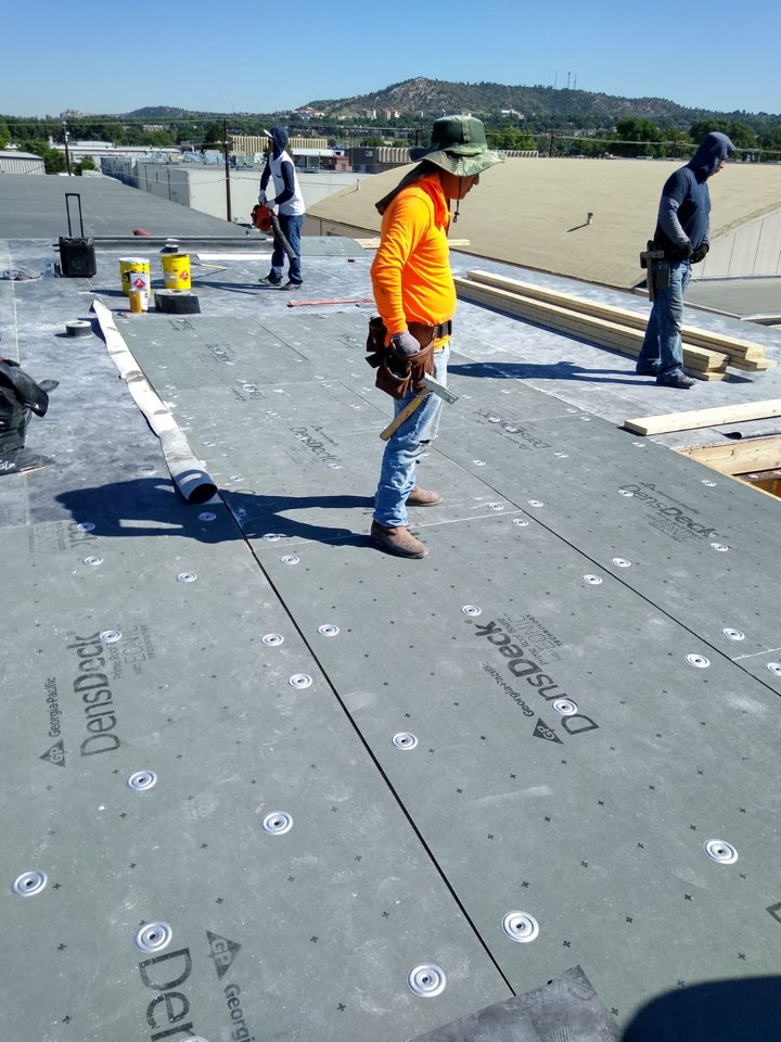 Full roof replacement and reinsulation of interior walls