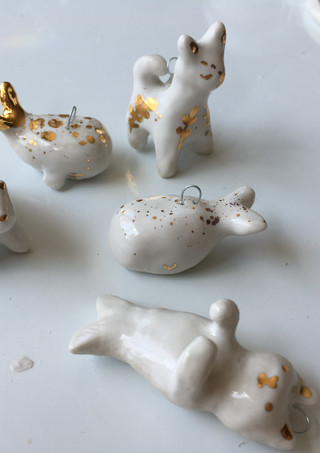 porcelain and gold pendants