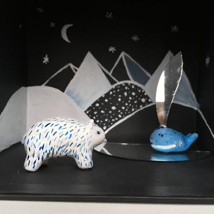 shadowbox polar bear and whale
