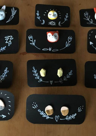 porcelain earrings and pins