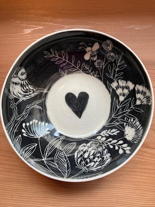 birdie and flowers bowl