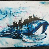 whale, acrylic