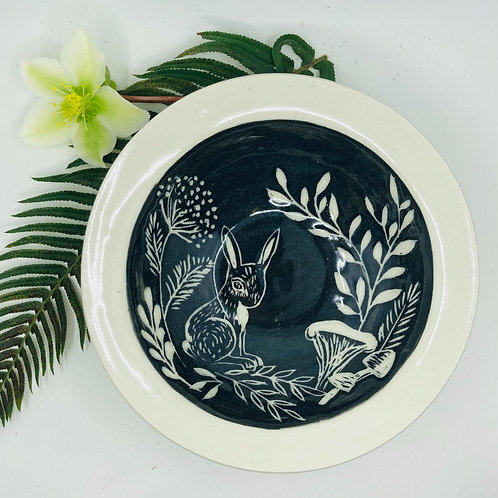 bunny in forest deep dish/bowl