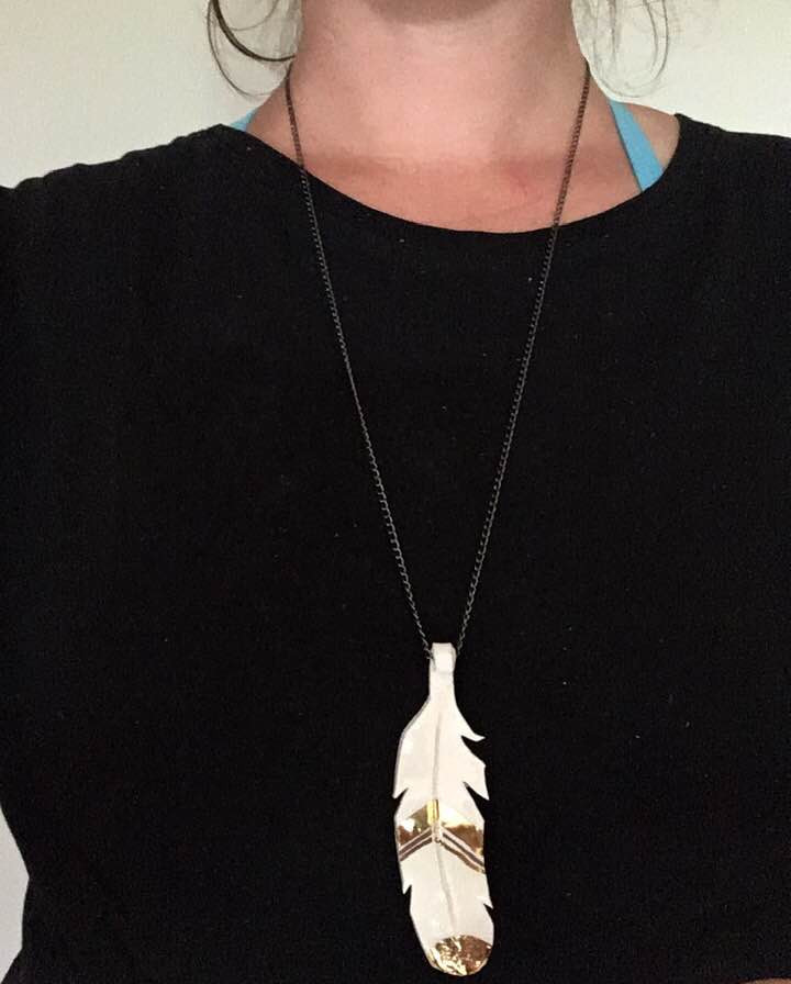 porcelain fether necklace