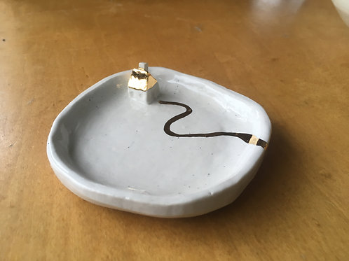 little gold house, porcelain dish