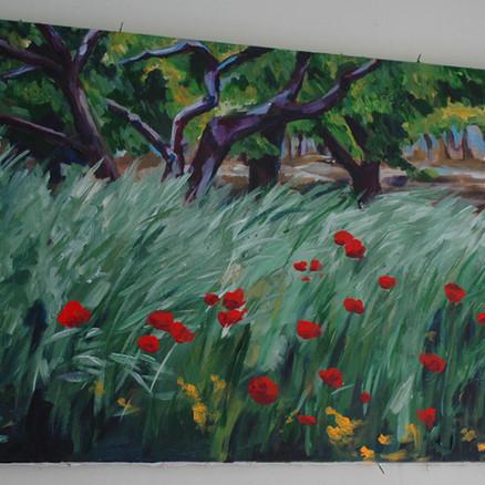 acrylic poppy field