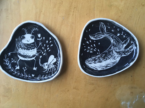 whale and bug porcelain plate