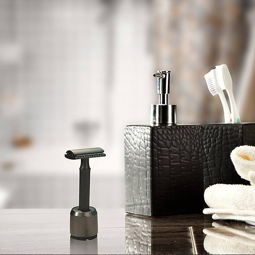 TBM Double Edge Safety Razor + Stand (Brass) + Free Replacement Blades