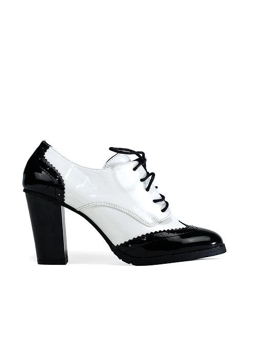 Poppy Shiny Heel Black/White Patent