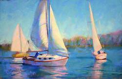 Sailing Anacostia - Pastel