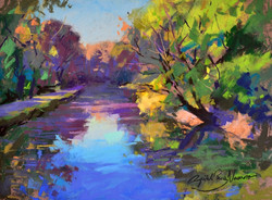 The Canal At Fletchers - Pastel