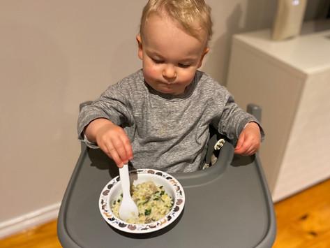 Leek, mushy and spinach risotto