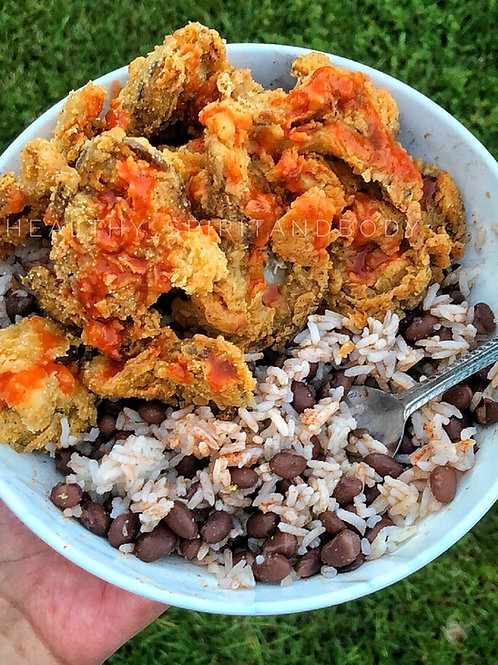 Vegan Fried Chikn with Beans & Rice Recipe