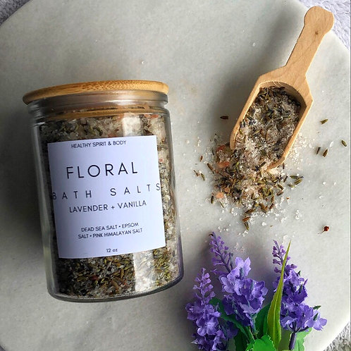 Lavender & Vanilla Floral Bath Salts