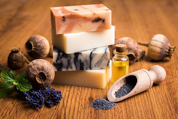 Product photography - Poppy-seed soaps and chocolate