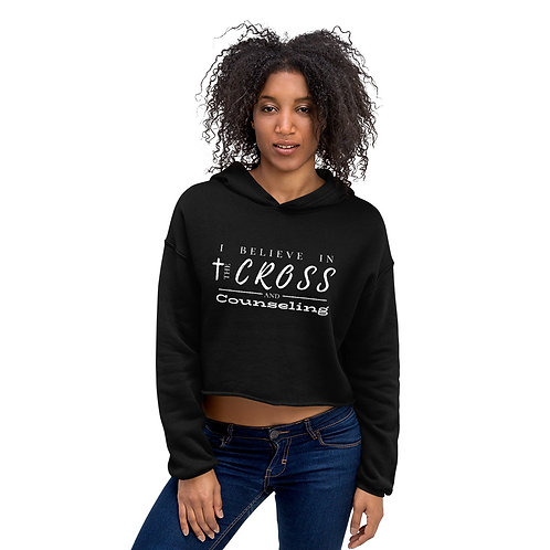 Cross + counseling crop hoodie (white lettering)