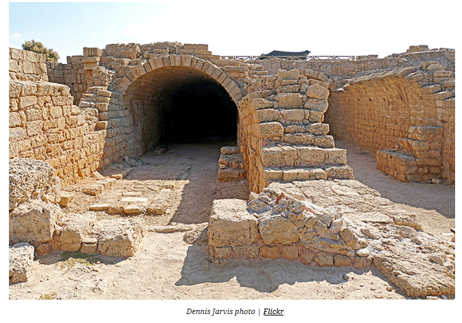 """In the early 2nd century A.D., one vault was converted into a """"Mithraeum"""". The contrast between the dark vault and the shaft of sunlight reaching directly on the altar from the opening made in the ceiling, played a role in the cult of Mithras, know as the """"Unconquered Sun"""".    Mithraism, also known as the Mithraic mysteries, was a mystery religion centered around the god Mithras that was practiced in the Roman Empire from about the 1st to the 4th century. The mysteries were popular in the Roman military. Worshippers of Mithras had a complex system of seven grades of initiation, with ritual meals. Initiates called themselves those """"united by the handshake"""". They met in underground temples, which survive in large numbers. The cult appears to have had its center in Rome."""