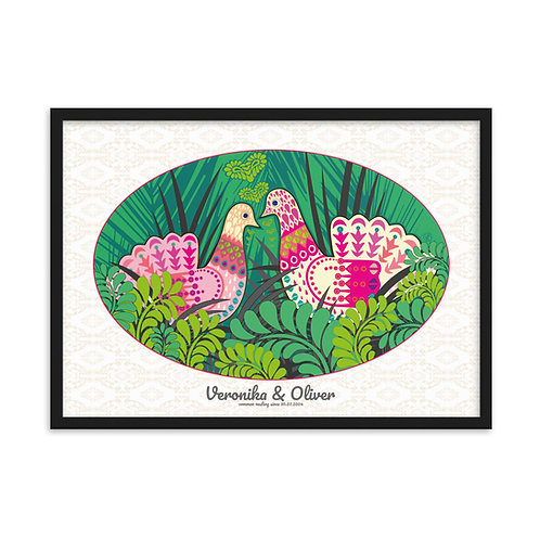 Wedding Doves Green - personalised framed poster art /b