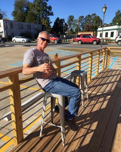Our Brewer, Myron enjoying the deck