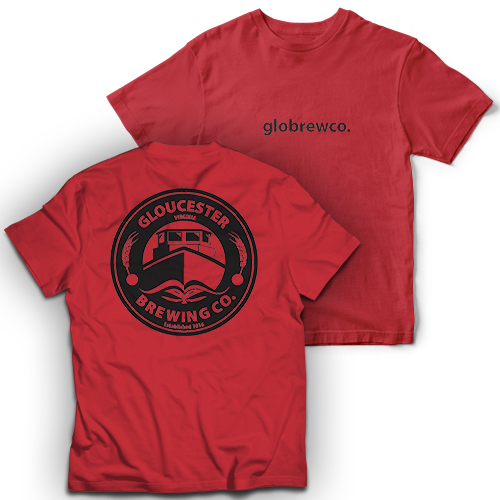 red  globrewco shirt