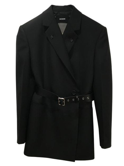 WE11DONE Back Open Belted Double-Breasted Blazer