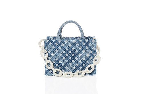 LARENCE AND CHICO Hand Woven Denim on Lace Bag Pearl Chain - Small Tote