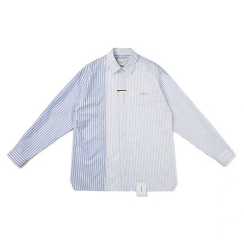 UNAWARES FW19 LABELED STRPE GORED SHIRT
