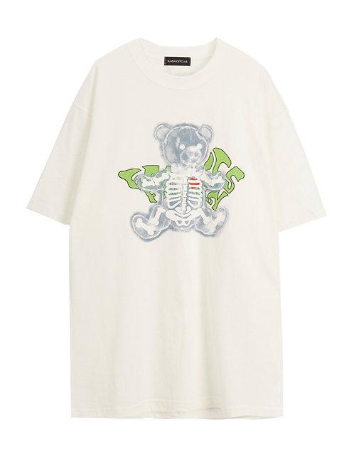 SUNDAY OFF CLUB X-ray Bear luminous Skeletone Artwork T-shirt - White