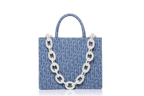 LARENCE AND CHICO Laulau Chichi Jacquard Bag Pearl Chain - Big Tote