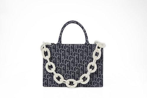 LARENCE AND CHICO Laulau Chichi Jacquard Bag Pearl Chain - Small Tote