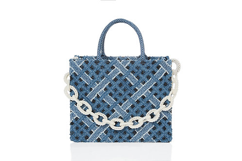 LAWRENCE AND CHICO Hand Woven Denim on Lace Bag Pearl Chain - Big Tote