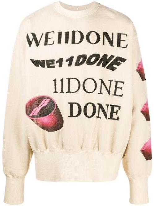 WE11DONE Pullover Mit Grafischem Print In Neutrals