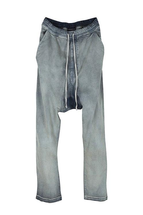 Back Zip Detail Drop Crotch Denim Pants