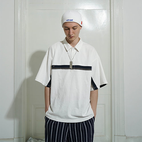 ATTEMPT SS18 Striped Patchwork Polo / White
